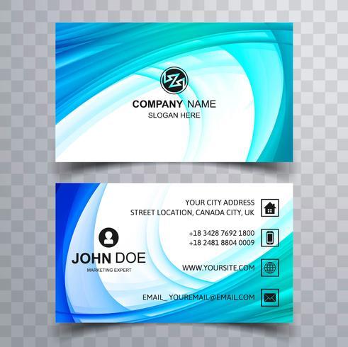 Plantilla de tarjeta de visita azul hermosa ola