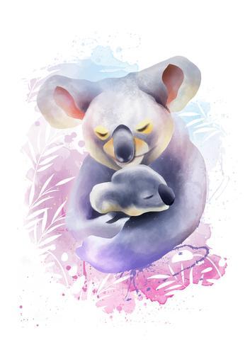 Mamãe Animal E Ilustração Do Bebê