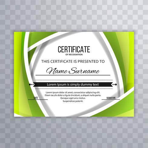 Abstract green certificate template design