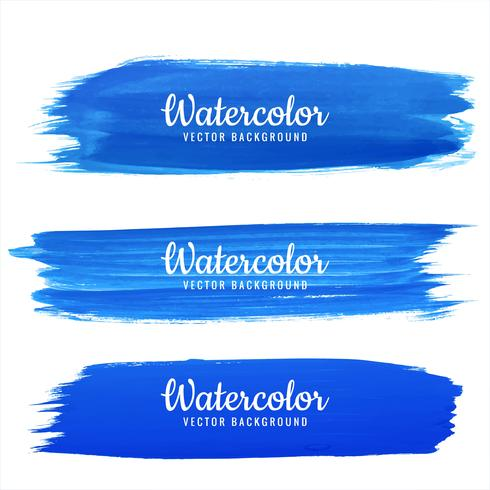 Abstract blue hand draw watercolor stroke design set