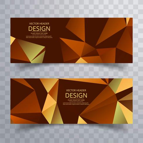 Abstract colorful geometric polygon banners set vector