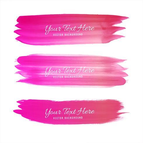 Set med rosa akvarell pensel slag design
