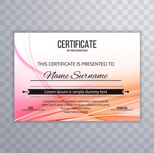Fond de certificat coloré moderne