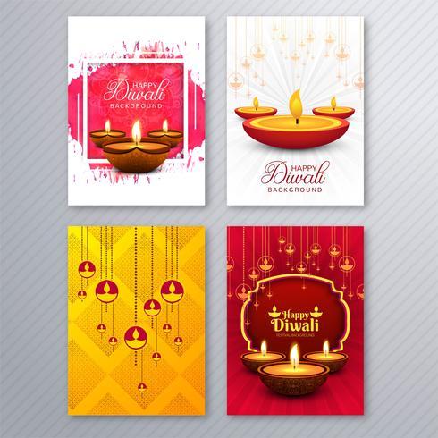 Beautiful diwali greeting card template brochure set design