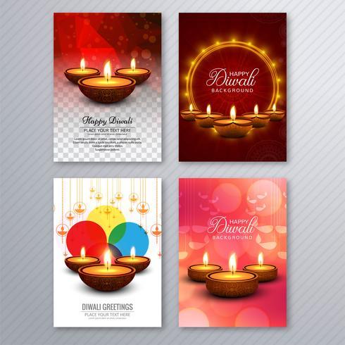 Elegant diwali hälsningskort mall broschyr uppsättning bakgrund vektor