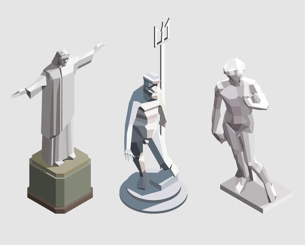 Vector estátuas isométricas