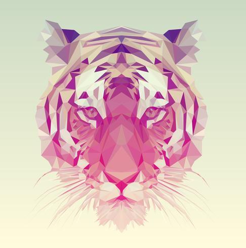 Diseño gráfico tigre poligonal.