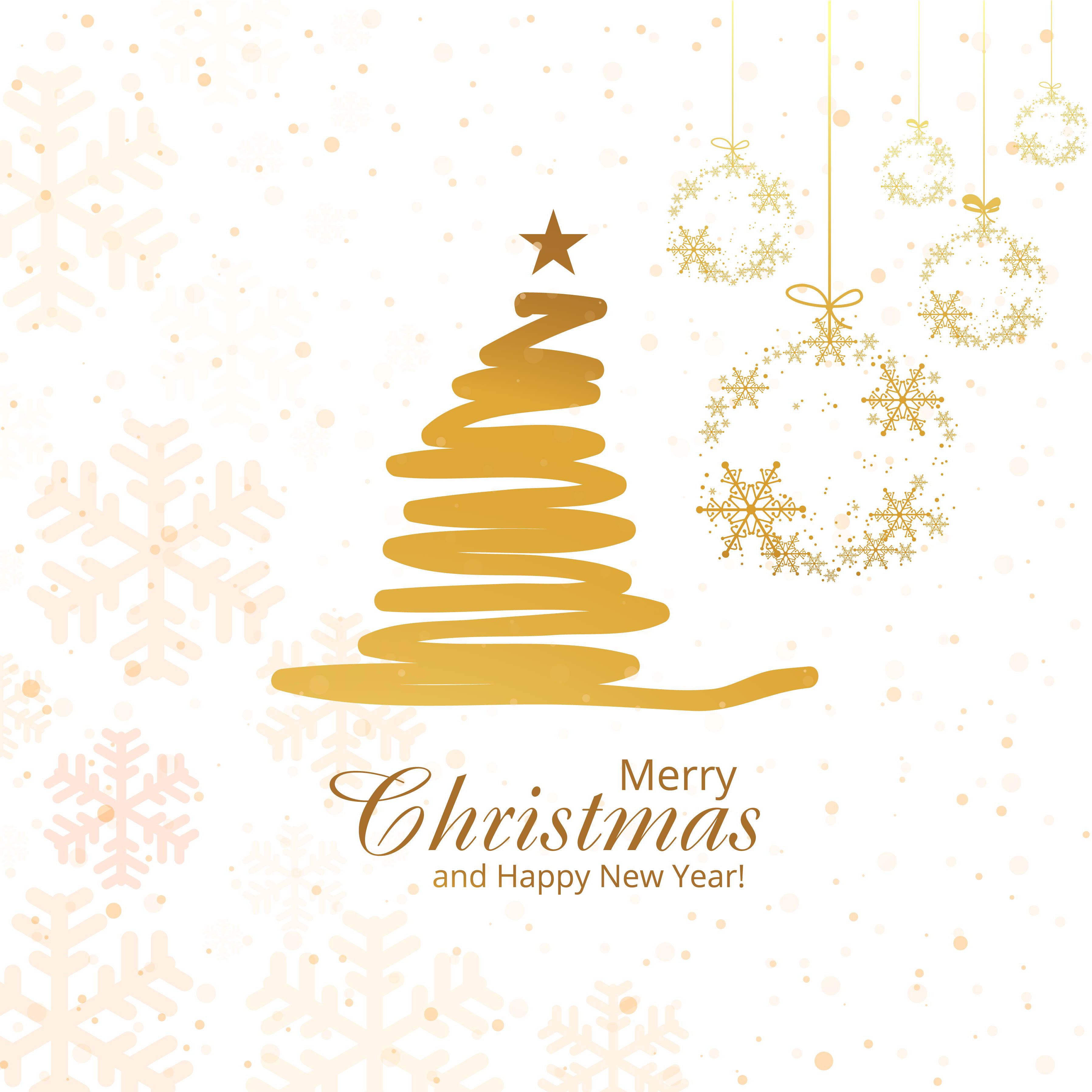 Merry christmas tree with snowflakes vector background - Download ...