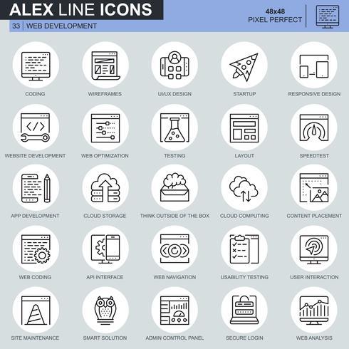 Set di icone di design e sviluppo linea sottile