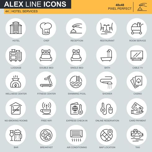 Conjunto de iconos de servicios de hotel de línea delgada para sitio web, sitio móvil y aplicaciones. Contiene iconos como equipaje, recepción, servicios de habitaciones. 48x48 Pixel Perfect. Trazo editable. Ilustracion vectorial