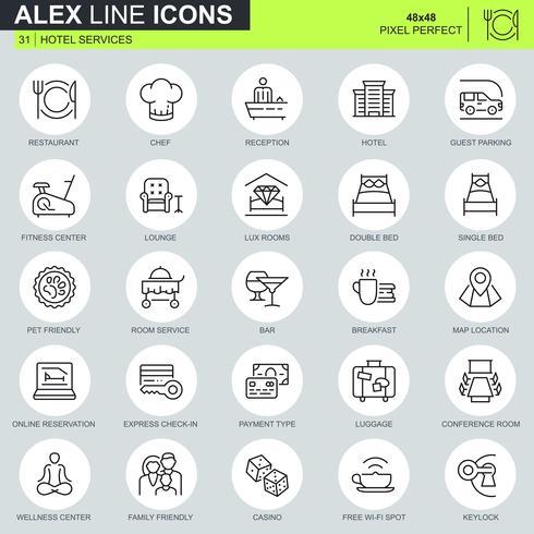 Dunne lijn hotelservices pictogrammen instellen voor website en mobiele site en apps. Bevat iconen zoals Restaurant, Room Services, Receptie. 48x48 Pixel Perfect. Bewerkbare lijn. Vector illustratie.