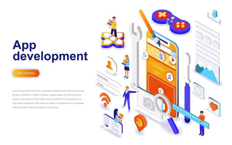 Aplicación de desarrollo moderno concepto de diseño plano isométrico. Smartphone y concepto de la gente. Plantilla de página de aterrizaje.
