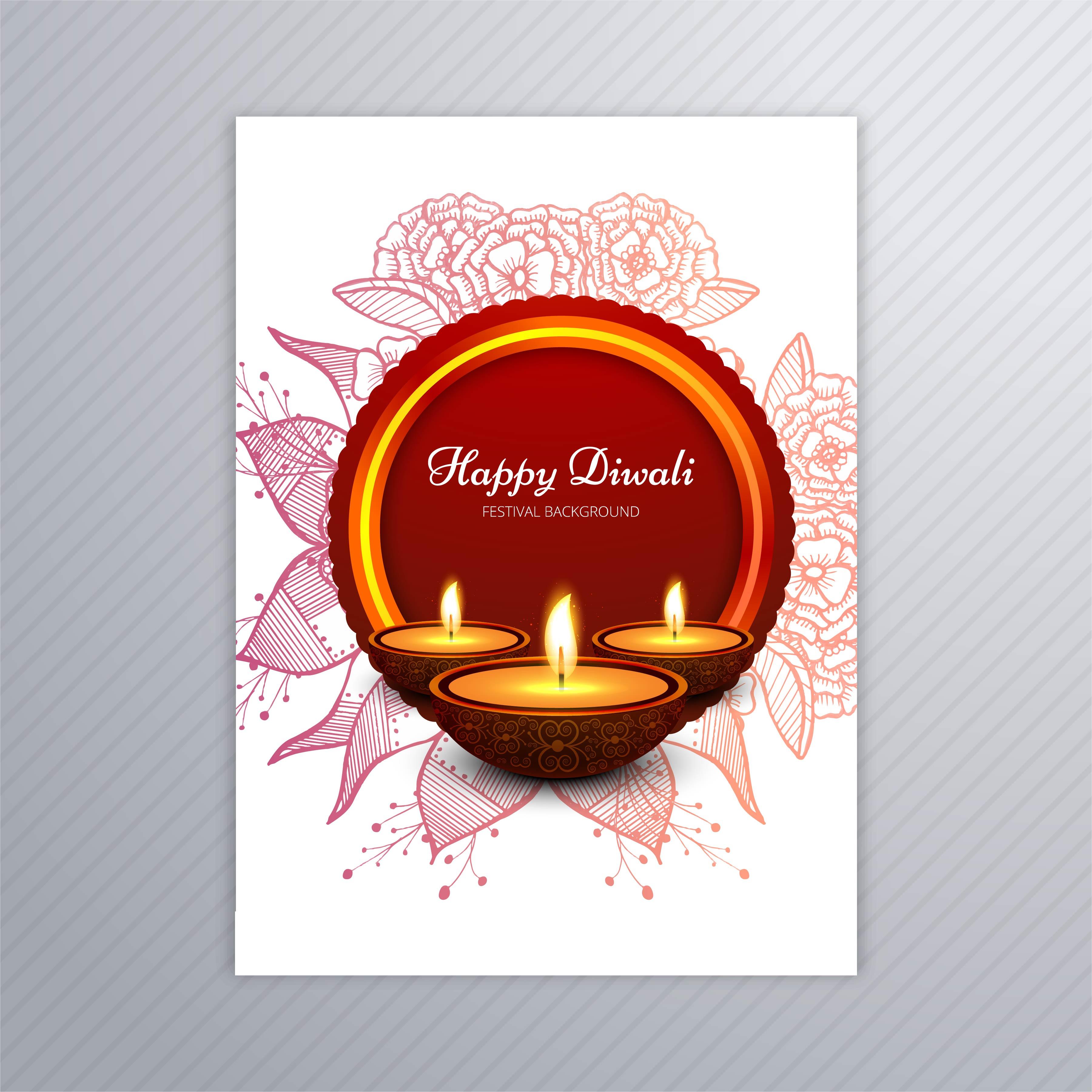 decorative diwali greeting card template design 257875