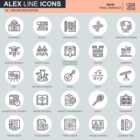 Set di icone di formazione online linea sottile