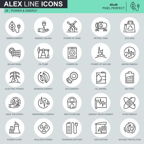 Set di icone del settore energetico linea sottile