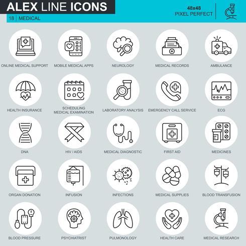 Tunnlinjehälso- och sjukvård, medicintekniska ikoner som ställs in för webbplats och mobilwebbplats och appar. Innehåller sådana ikoner som DNA, ambulans. 48x48 Pixel Perfect. Redigerbar stroke. Vektor illustration.