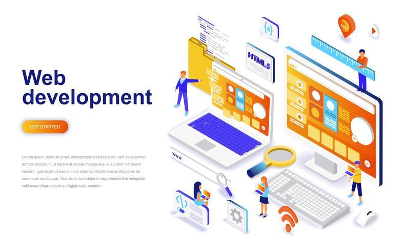 Conceito isométrica do design plano moderno de desenvolvimento Web. Desenvolvedor e conceito de pessoas. Modelo de página de destino.