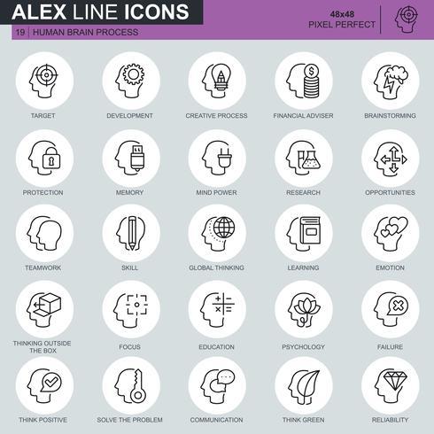 Tunna linjer mänskliga hjärnan process, funktioner och känslor ikoner ställs för webbplats och mobil webbplats och appar. Innehåller sådana ikoner som mål, skicklighet. 48x48 Pixel Perfect. Redigerbar stroke. Vektor illustration.