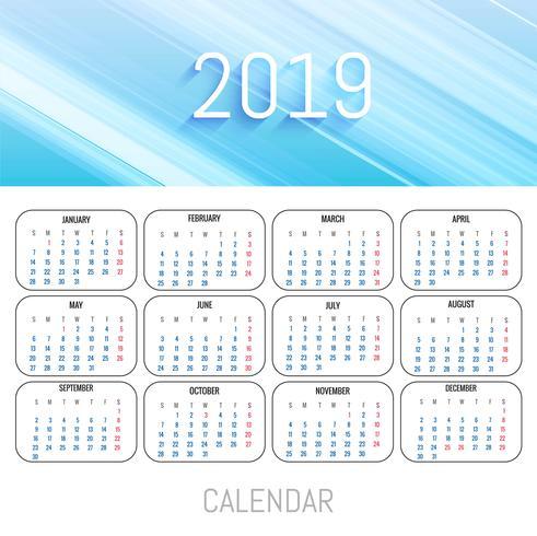 Modern 2019  calendar template vector design