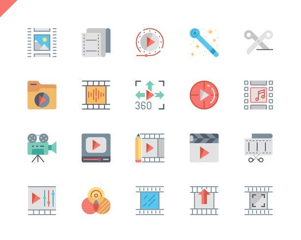 Simple Set Video Editing Flat Icons pour site Web et applications mobiles. 48x48 Pixel Parfait. Illustration vectorielle