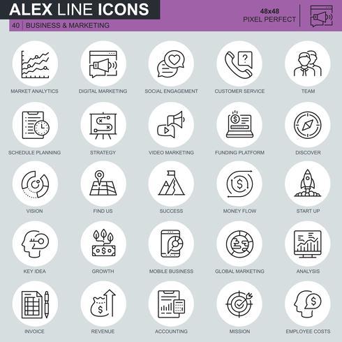 Dunne lijn bedrijfs en marketing pictogrammen die voor website en mobiele plaats en apps worden geplaatst. Bevat iconen zoals visie, missie, planning, markt. 48x48 Pixel Perfect. Bewerkbare lijn. Vector illustratie.