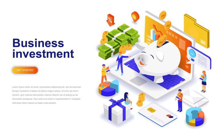 Conceito isométrico do design plano empresarial moderno de investimento. Conceito de dinheiro e pessoas. Modelo de página de destino.