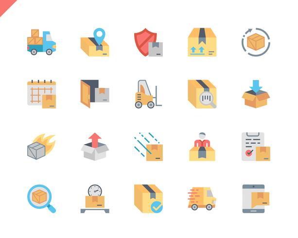 Conjunto simple de envío de iconos planos para sitio web y aplicaciones móviles. 48x48 Pixel Perfect. Ilustracion vectorial
