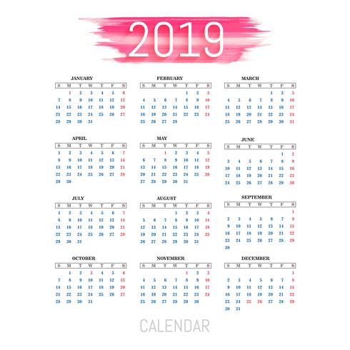 Vector de plantilla de calendario colorido 2019 moderno