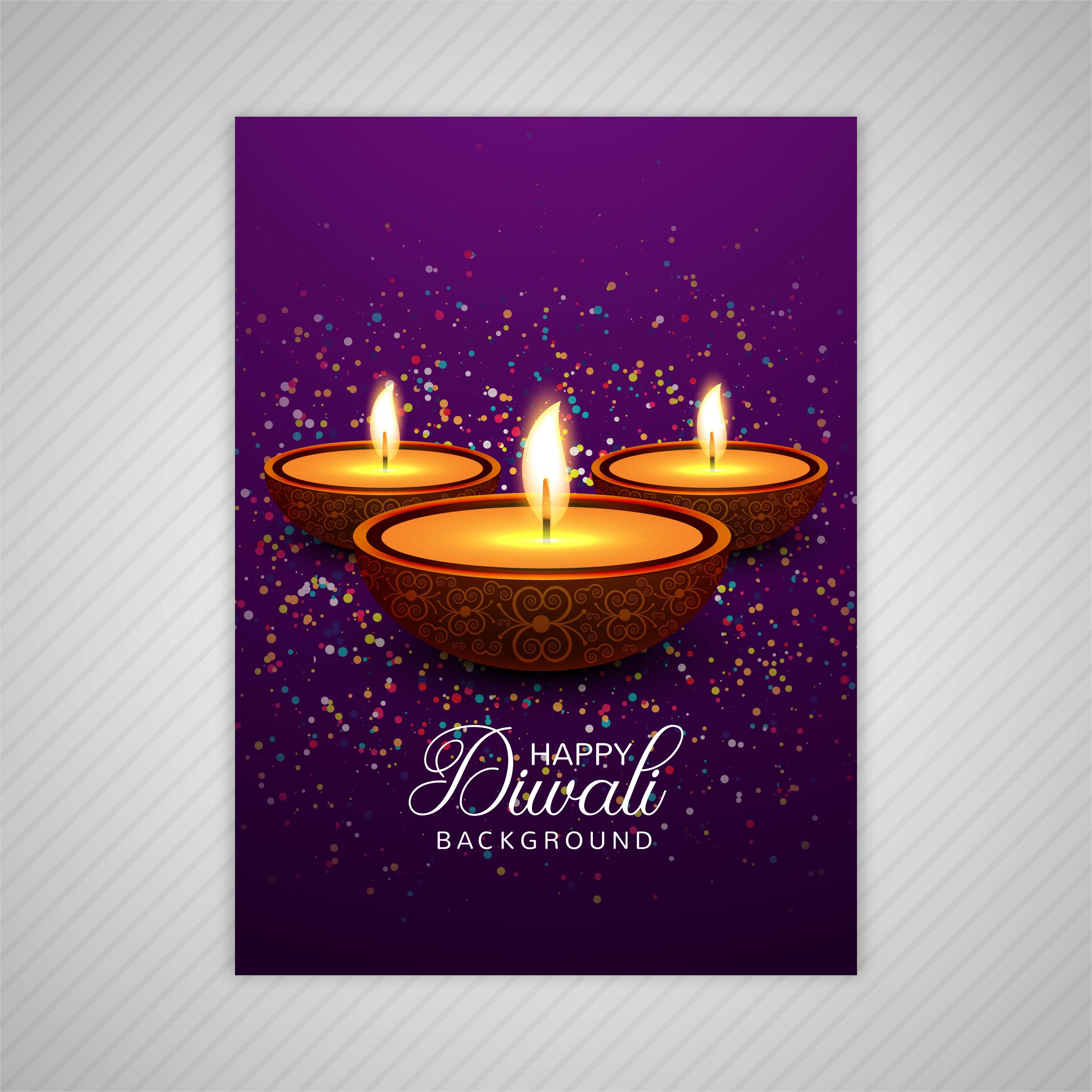 decorative diwali greeting card template design 257914