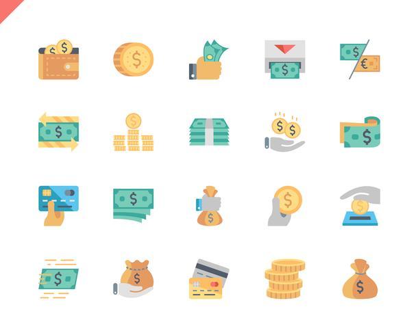 Conjunto simple de iconos planos de dinero para sitio web y aplicaciones móviles. 48x48 Pixel Perfect. Ilustracion vectorial