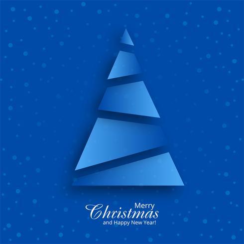 Carte de voeux joyeux Noël avec motif de sapin bleu