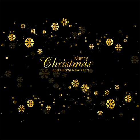 Fondo de oro copos de nieve tarjeta de felicitación de Navidad feliz