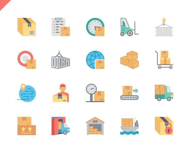 Simple Set Package Delivery Flat Icons  vector