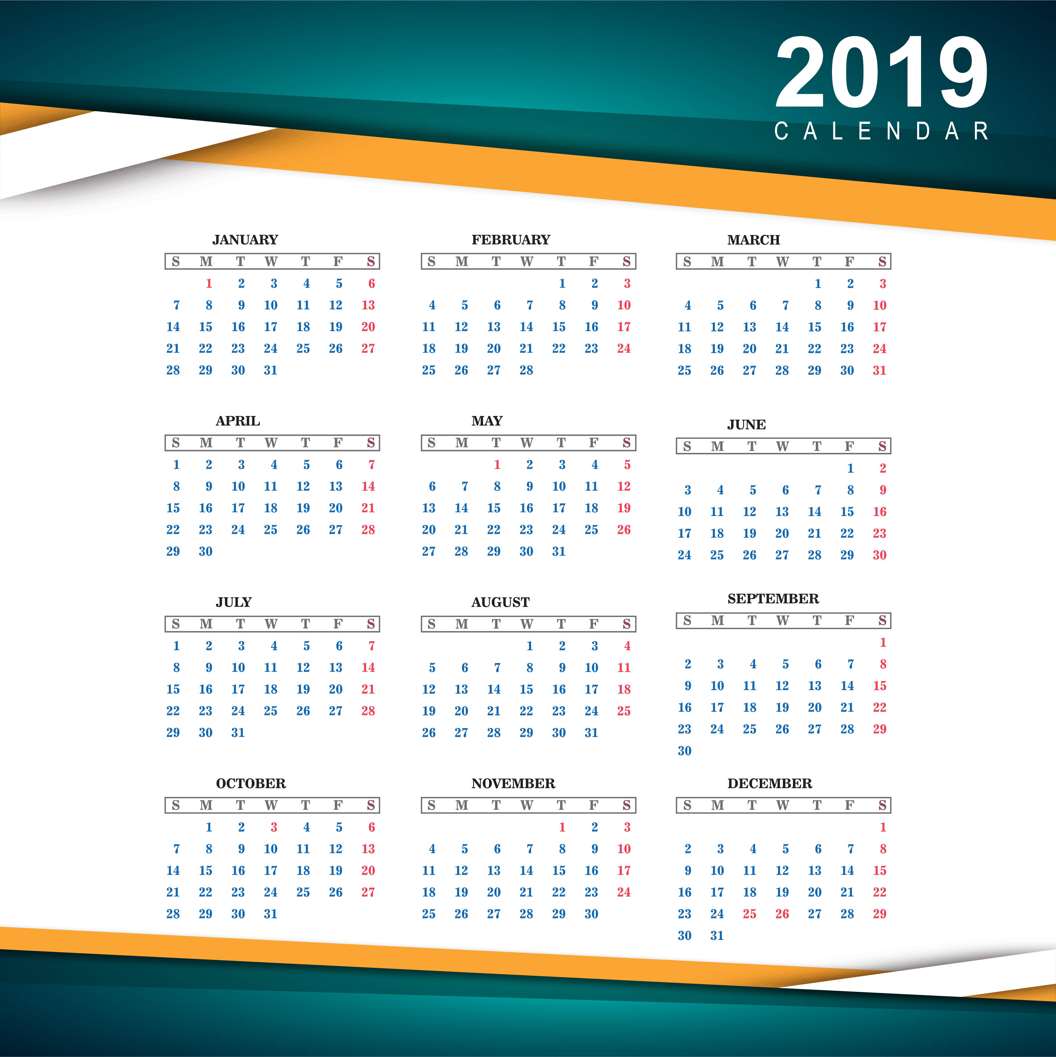 2019: Beautiful 2019 Colorful Calendar Template