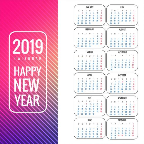Calendar 2019 template colorful background vector