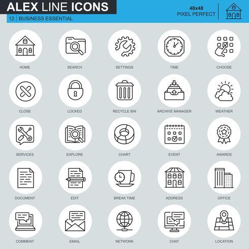 Linea sottile comunicazione aziendale e icone di ufficio impostate