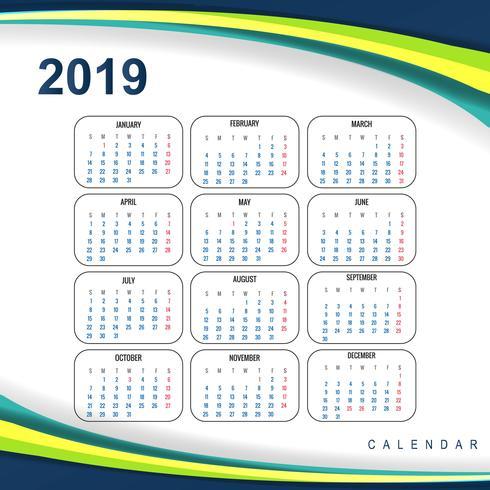 Abstract de golfontwerp van de Kalender kleurrijk 2019 malplaatje
