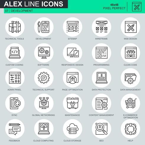Set de iconos de diseño y desarrollo web de líneas finas para sitios web, sitios móviles y aplicaciones. Contiene iconos como software, programación, sincronización. 48x48 Pixel Perfect. Trazo editable. Ilustracion vectorial