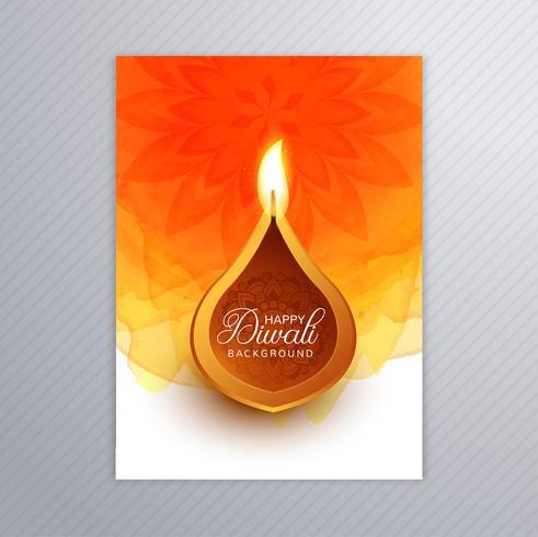 Sier elegante diwali wenskaart brochure sjabloon vector