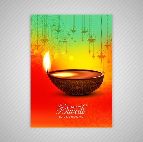 Affisch med en diya för diwali färgglada flygbladmalldesign