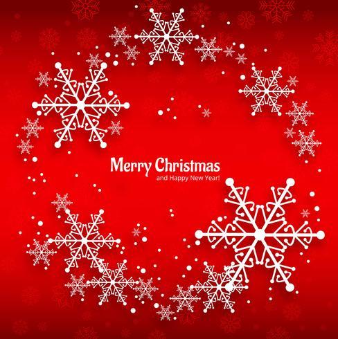 Tarjeta de felicitación de la feliz Navidad con el fondo rojo de los copos de nieve