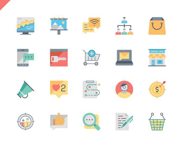 Set semplice Marketing icone piane