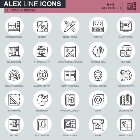 Dunne lijn web- en grafisch ontwerp pictogrammen instellen voor website en mobiele site en apps. Bevat pictogrammen zoals Studio, App-ontwikkeling, Retoucheren. 48x48 Pixel Perfect. Bewerkbare lijn. Vector illustratie.