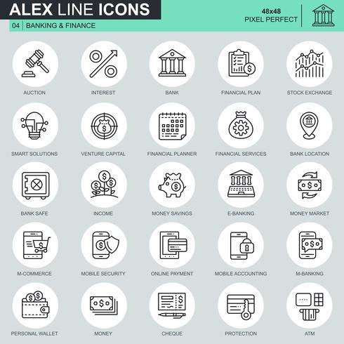 Os ícones finos da operação bancária e da finança da linha ajustaram-se para o Web site e local móvel e apps. Contém ícones como Banco, Dinheiro, Plano Financeiro, M-commerce. 48x48 Pixel Perfeito. Curso editável. Ilustração vetorial.