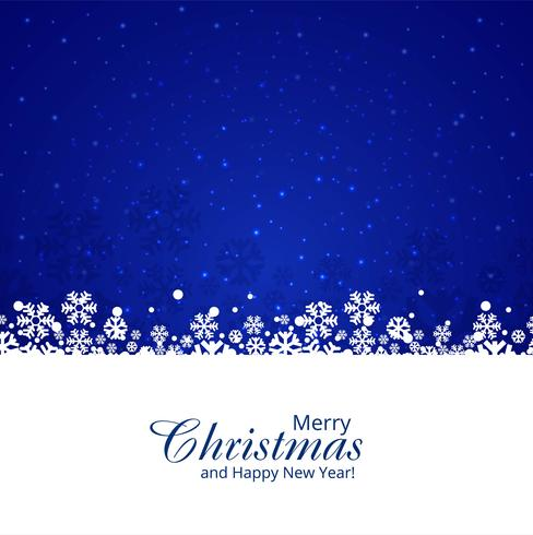 Beautiful festival merry christmas snowflake blue background