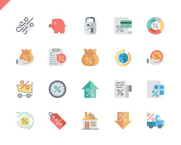 Icone piane di prestito stabilite semplici