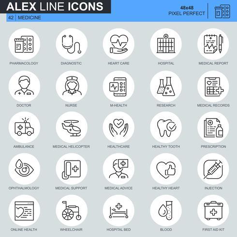 Dunne lijngezondheidszorg en medische die pictogrammen voor website en mobiele plaats en apps worden geplaatst. Bevat pictogrammen zoals ambulances, onderzoek, ziekenhuis. 48x48 Pixel Perfect. Bewerkbare lijn. Vector illustratie.