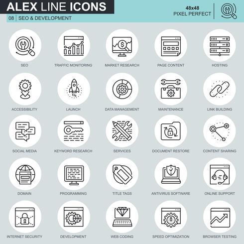 Thin line seo y los iconos de desarrollo establecidos para el sitio web, el sitio móvil y las aplicaciones. Contiene iconos como hosting, estudios de mercado, programación. 48x48 Pixel Perfect. Trazo editable. Ilustracion vectorial vector