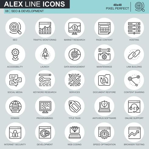 Thin line SEO and development icons set