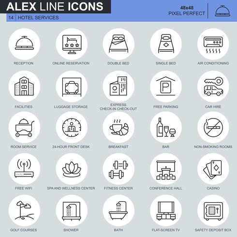 Thin line hotel services and facilities, online booking icons set